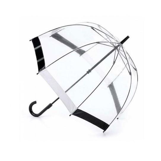 Parasolka damska przeźroczysta Fulton Birdcage-1 Black/White L041 (7S090)