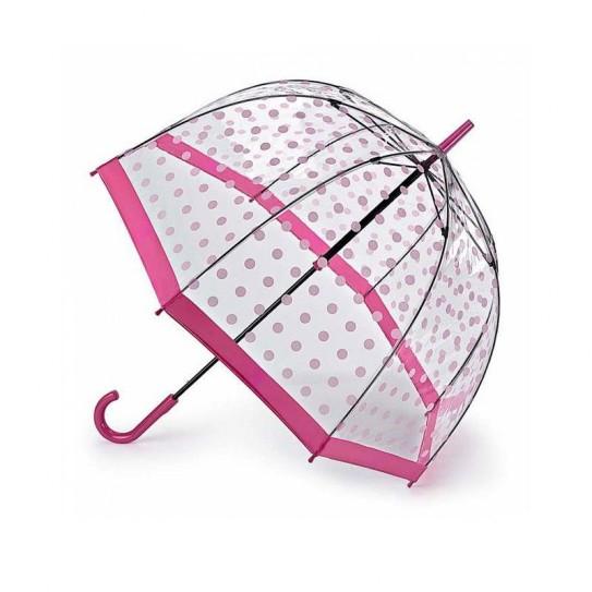 Parasolka damska przeźroczysta Fulton Birdcage-2 Pink Polka L042 (7S3388)